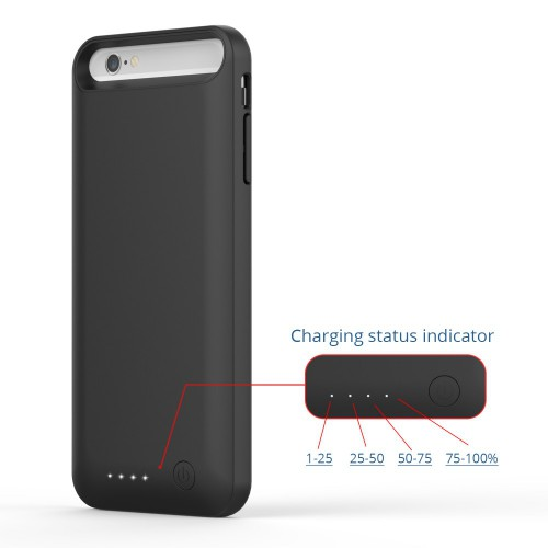 Girafus® 3100mAh High End iPhone 6 / 6S externes Akku Batterie Cover Case Hülle Powerbank-Schwarz – Bild 5